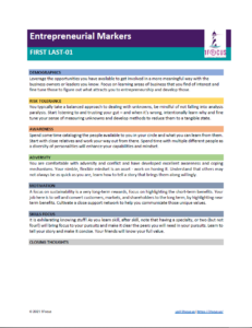 Entrepreneurial Markers for Teens Sample Report